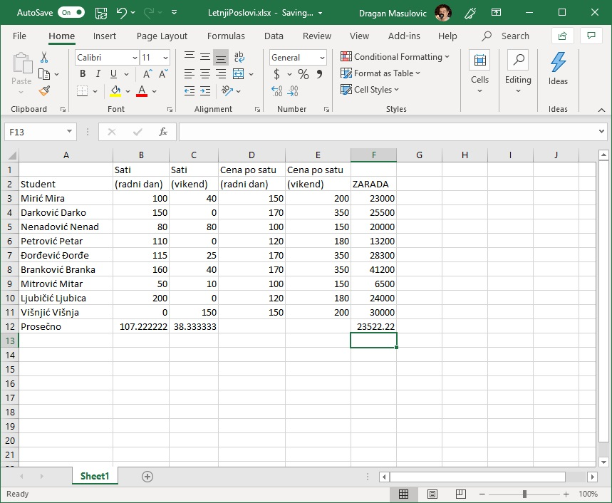 Унос формуле у табелу