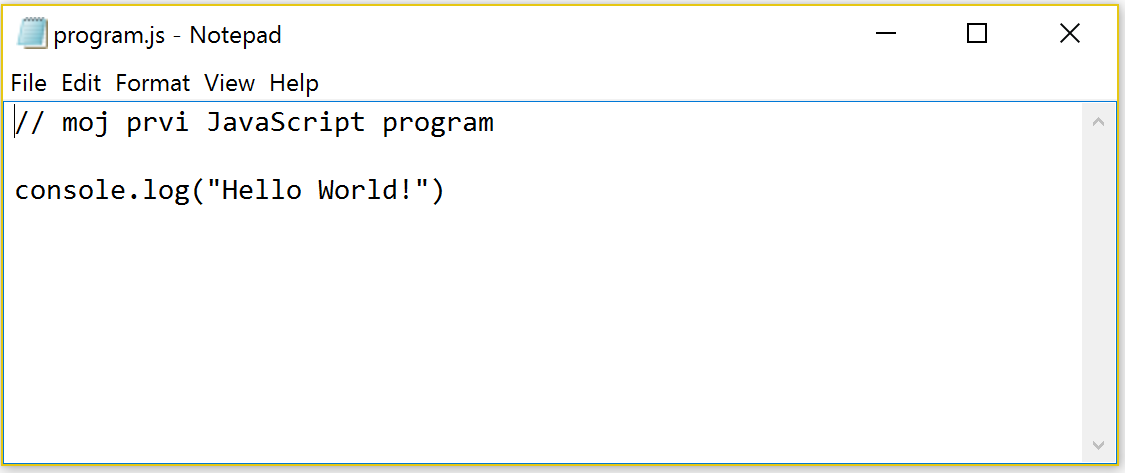 """Program koji prikazuje poruku """"Hello World!"""""""