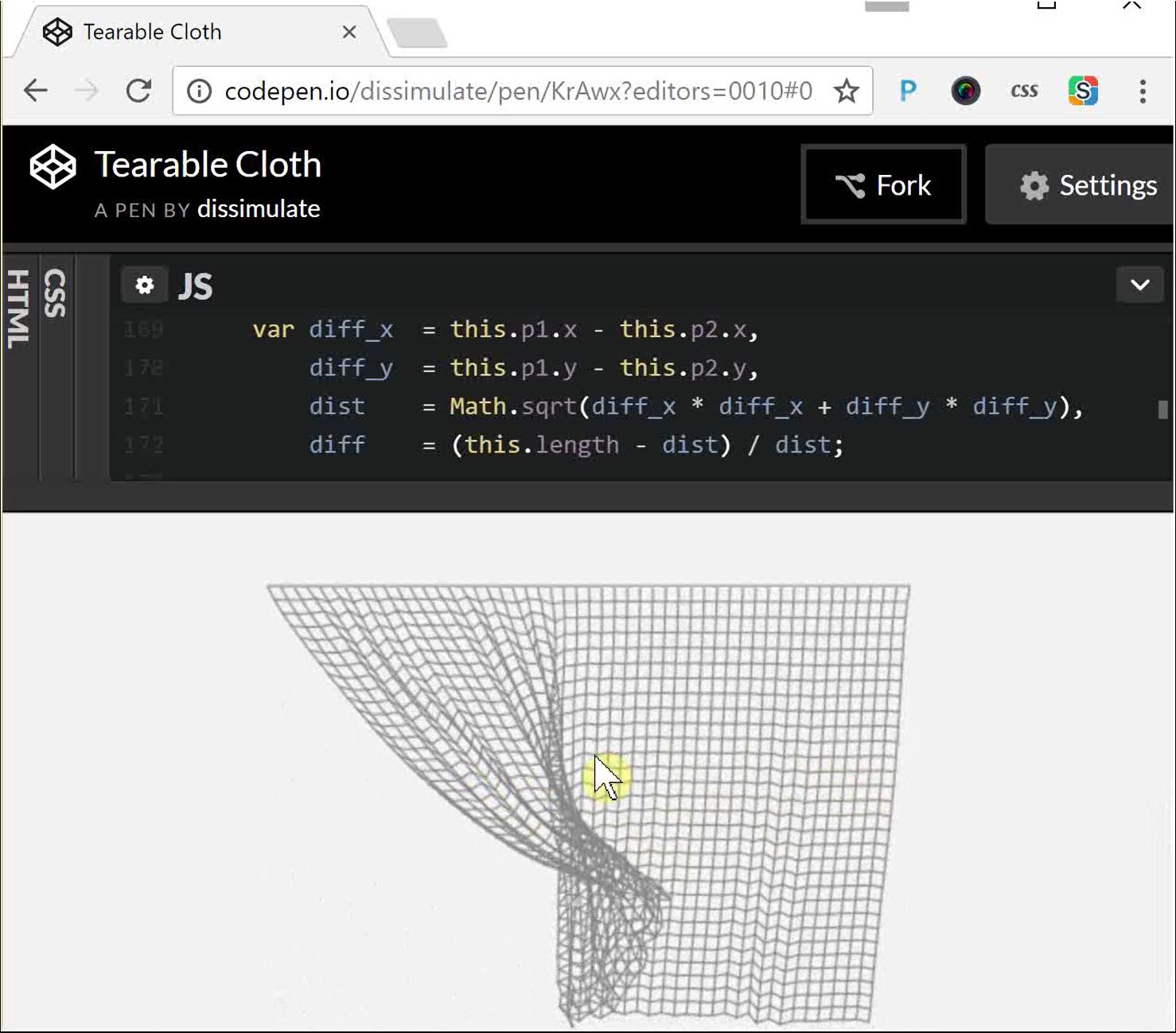 Cepanje mreže na CodePen sajtu